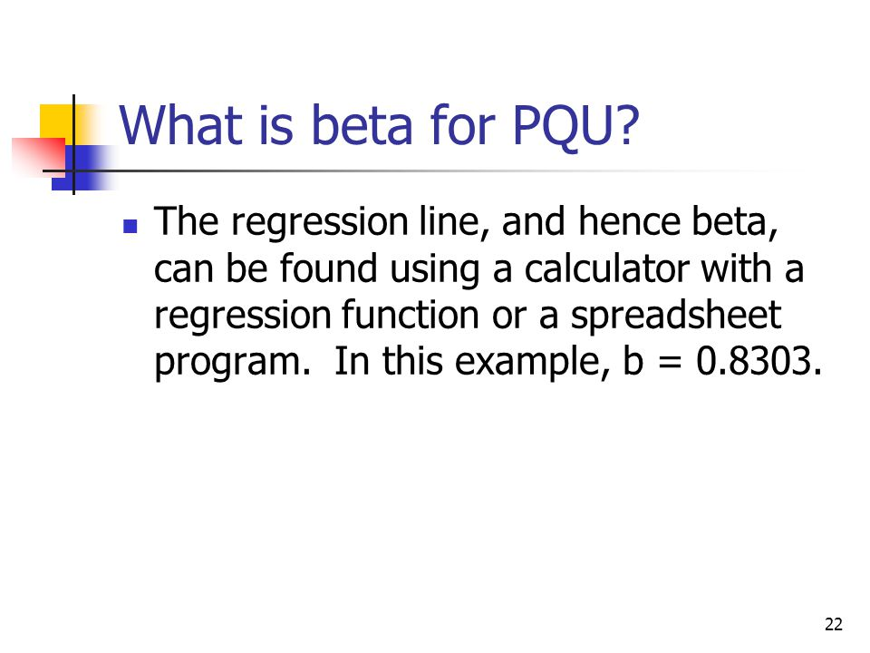 What is beta for PQU