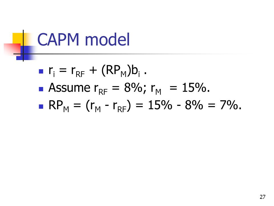 CAPM model ri = rRF + (RPM)bi . Assume rRF = 8%; rM = 15%.