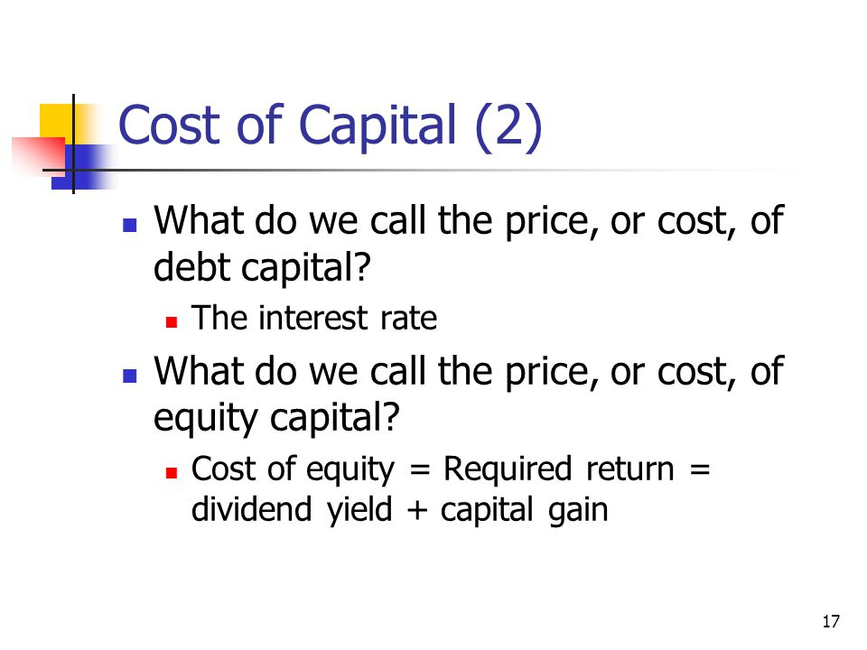 Cost of Capital (2) What do we call the price, or cost, of debt capital The interest rate. What do we call the price, or cost, of equity capital