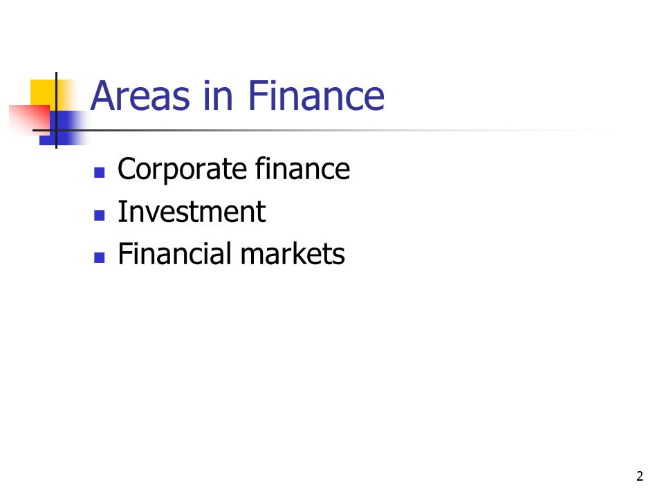 Areas in Finance Corporate finance Investment Financial markets