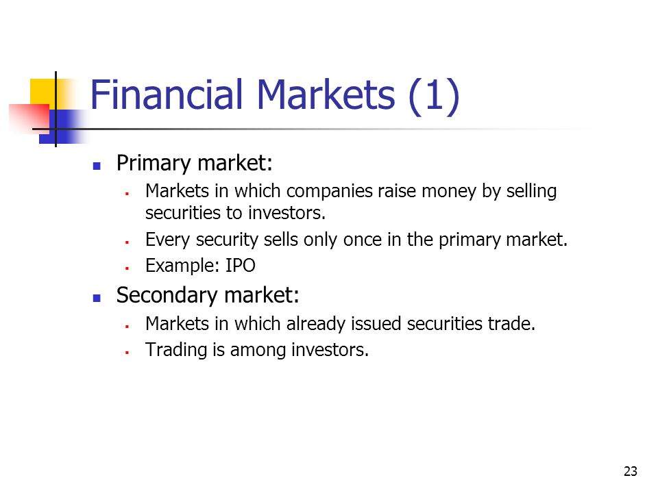 Financial Markets (1) Primary market: Secondary market: