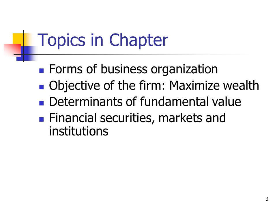 Topics in Chapter Forms of business organization