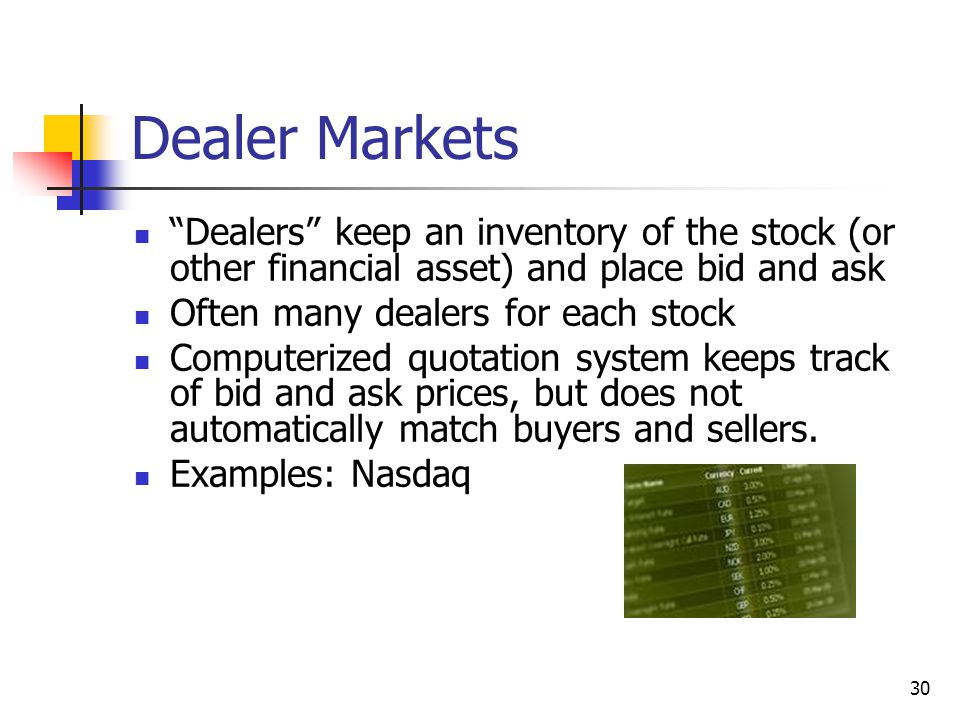 Dealer Markets Dealers keep an inventory of the stock (or other financial asset) and place bid and ask.