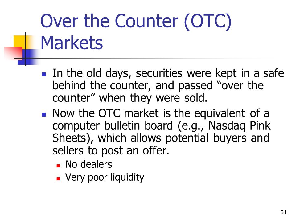Over the Counter (OTC) Markets