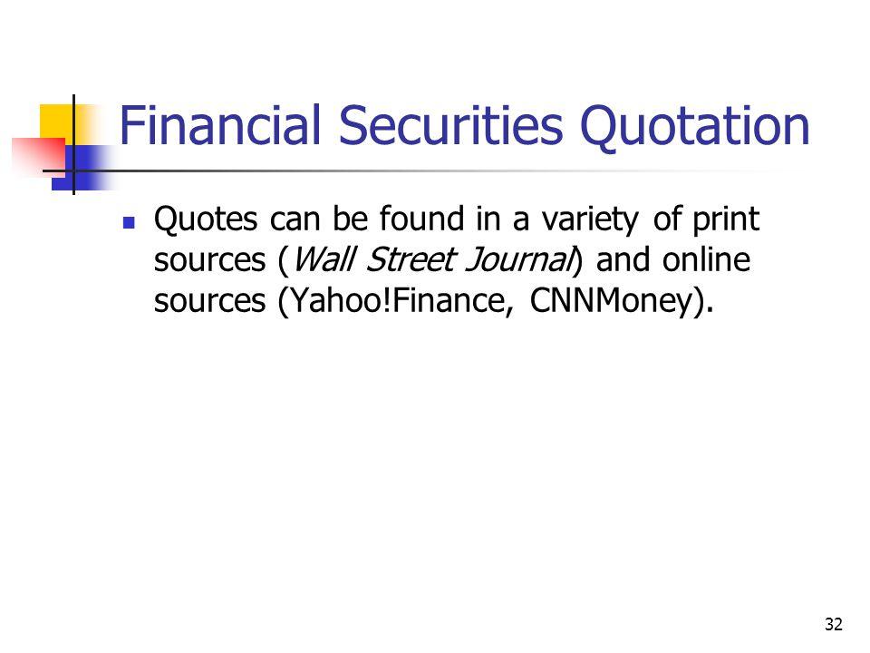 Financial Securities Quotation