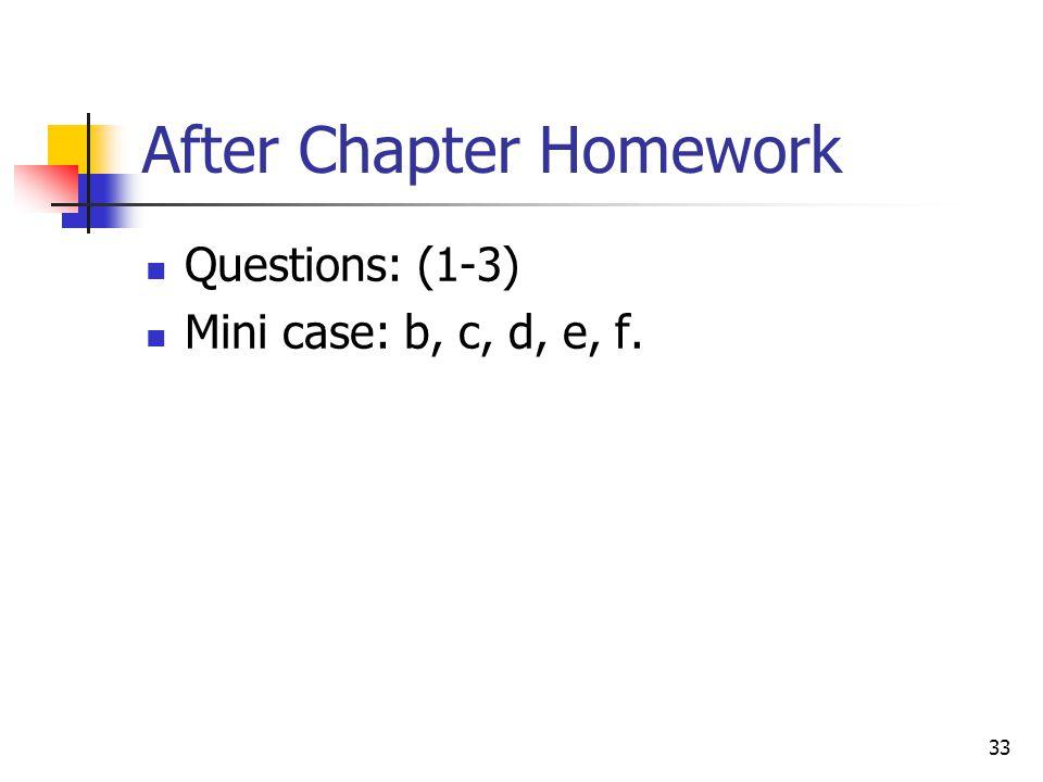 After Chapter Homework