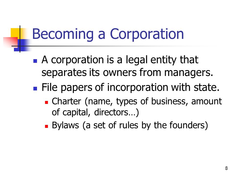 Becoming a Corporation