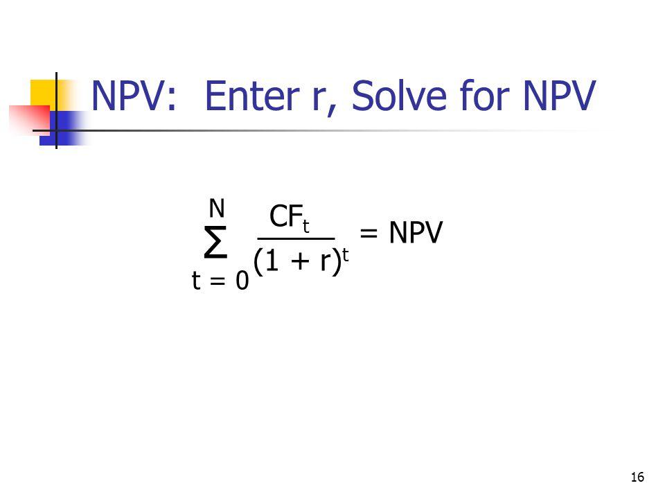 NPV: Enter r, Solve for NPV