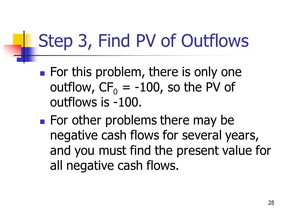 Step 3, Find PV of Outflows
