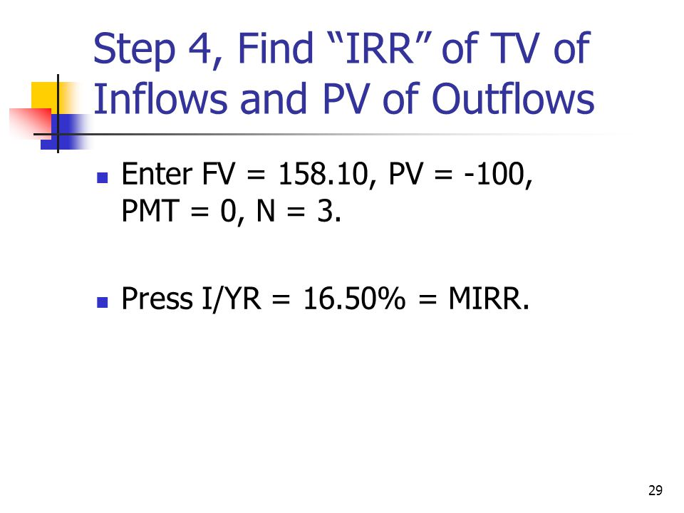 Step 4, Find IRR of TV of Inflows and PV of Outflows