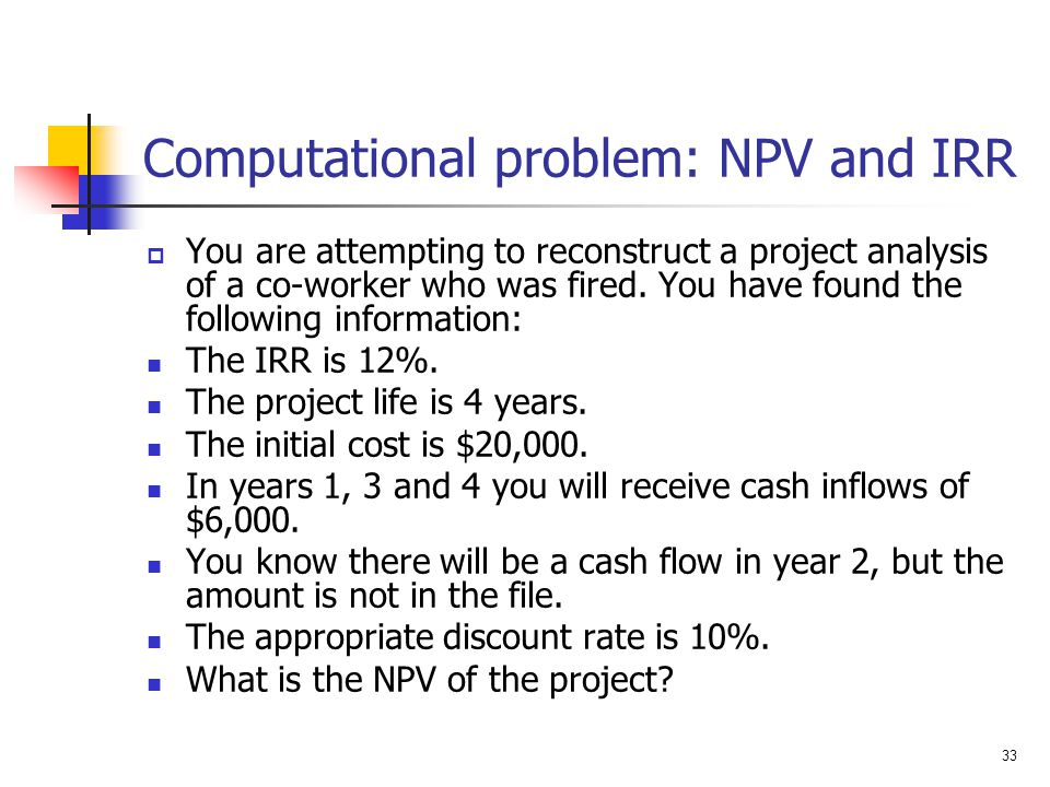 Computational problem: NPV and IRR