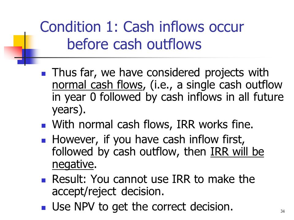 Condition 1: Cash inflows occur before cash outflows