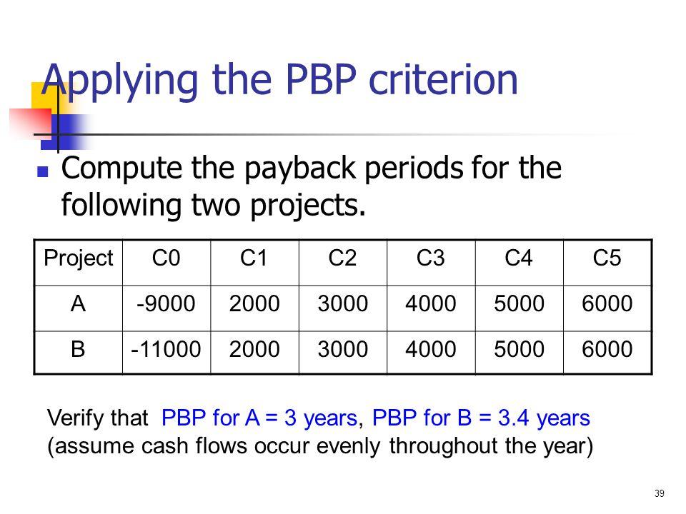Applying the PBP criterion