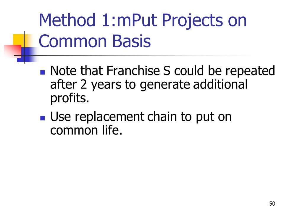 Method 1:mPut Projects on Common Basis
