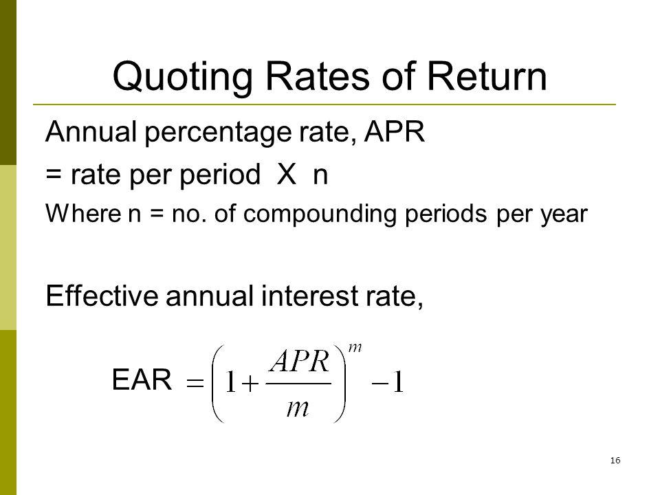 Quoting Rates of Return
