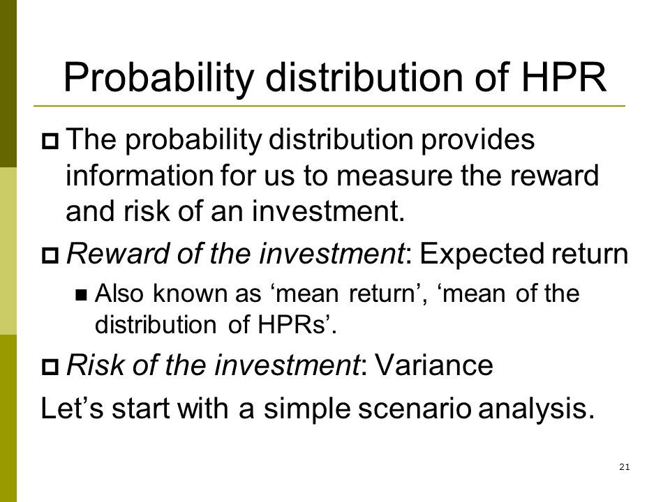Probability distribution of HPR