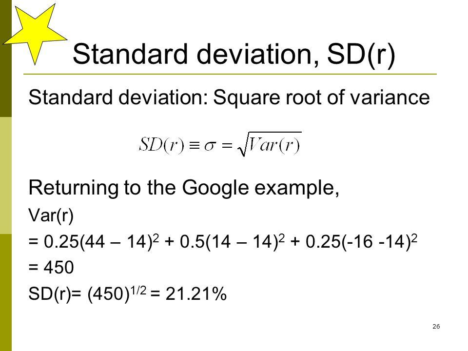 Standard deviation, SD(r)