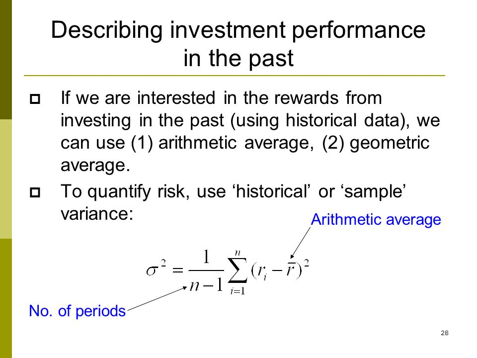 Describing investment performance in the past