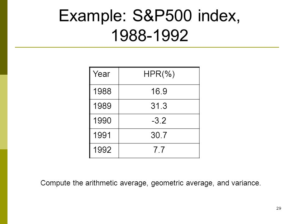 Example: S&P500 index, 1988-1992 Year HPR(%) 1988 16.9 1989 31.3 1990