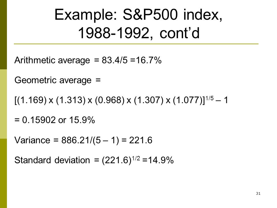 Example: S&P500 index, 1988-1992, cont'd