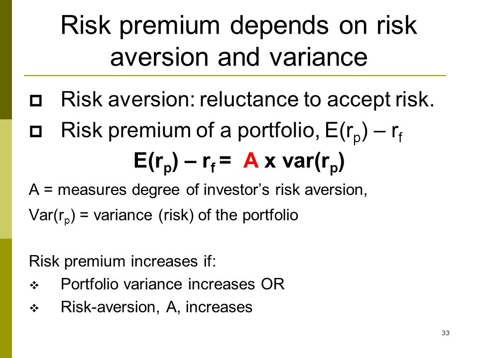 Risk premium depends on risk aversion and variance