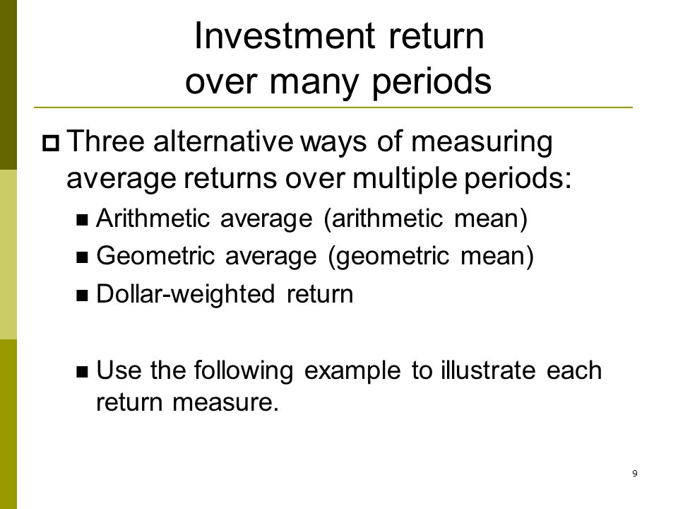 Investment return over many periods