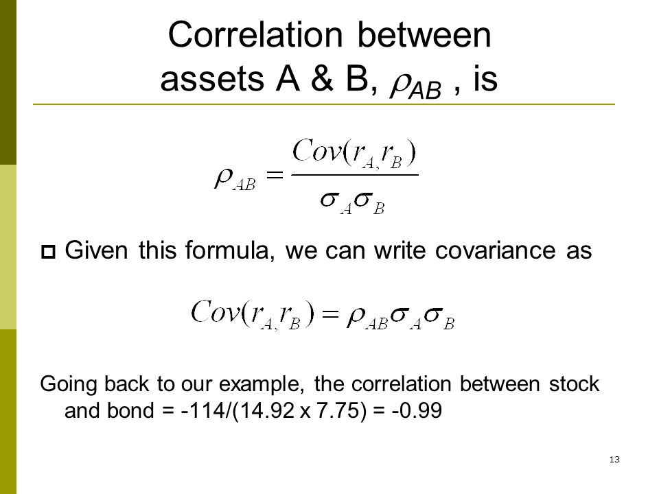 Correlation between assets A & B, rAB , is