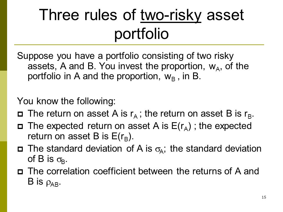 Three rules of two-risky asset portfolio