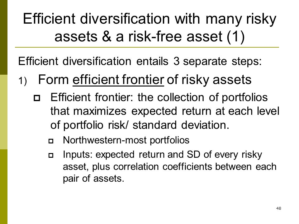 Efficient diversification with many risky assets & a risk-free asset (1)