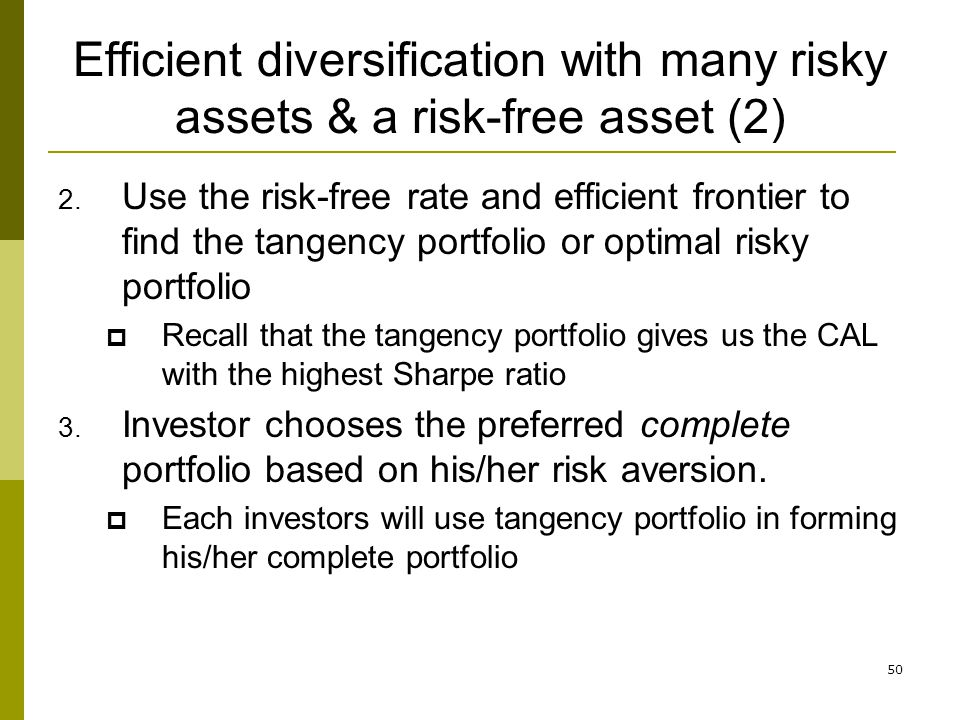 Efficient diversification with many risky assets & a risk-free asset (2)
