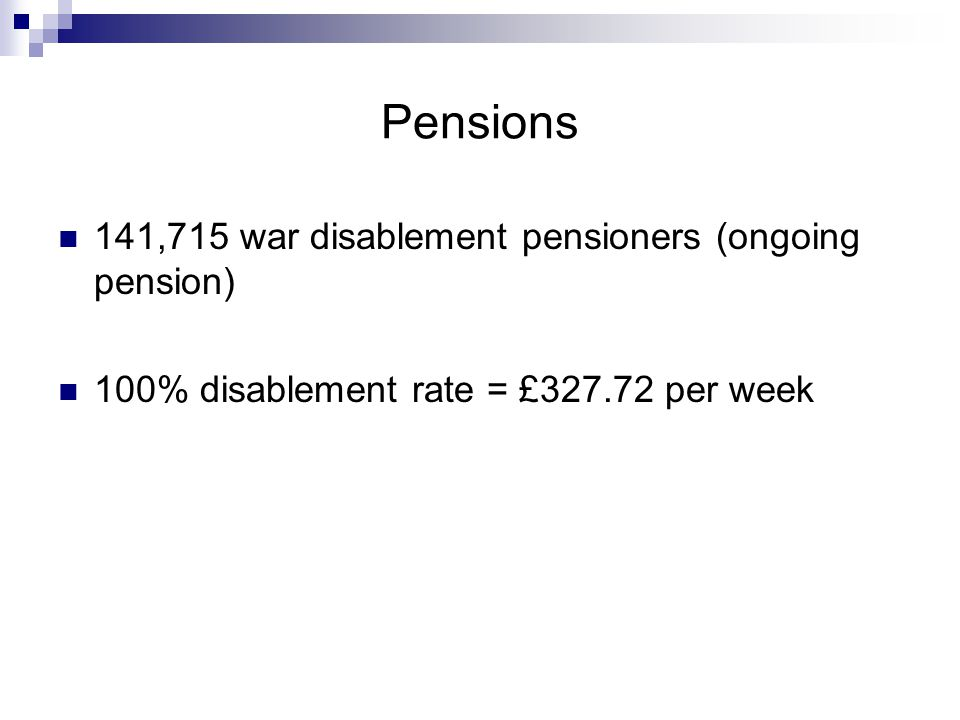 Pensions 141,715 war disablement pensioners (ongoing pension)