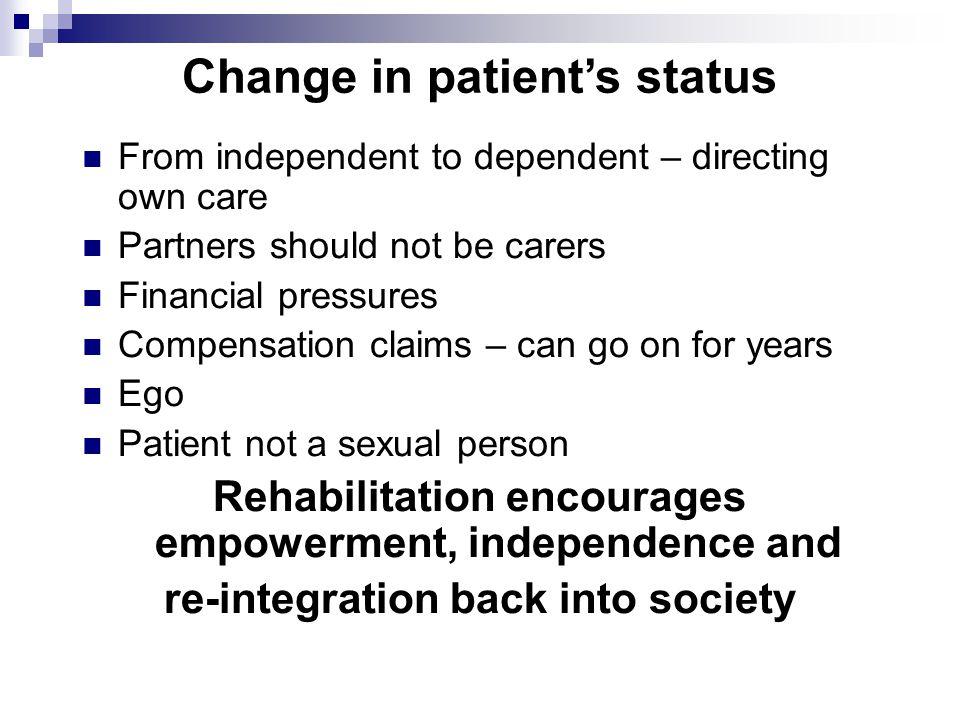 Change in patient's status