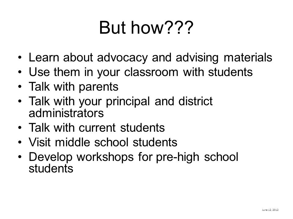 But how Learn about advocacy and advising materials