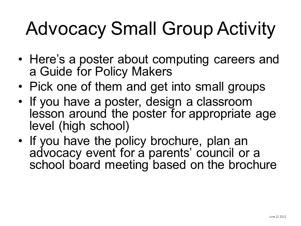 Advocacy Small Group Activity