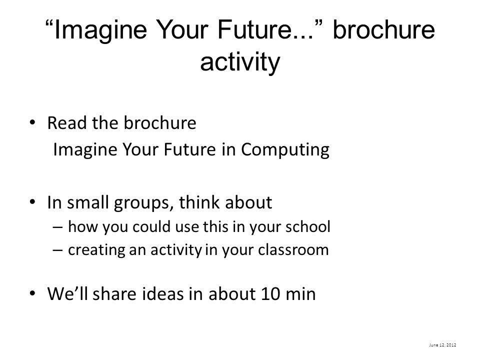 Imagine Your Future... brochure activity