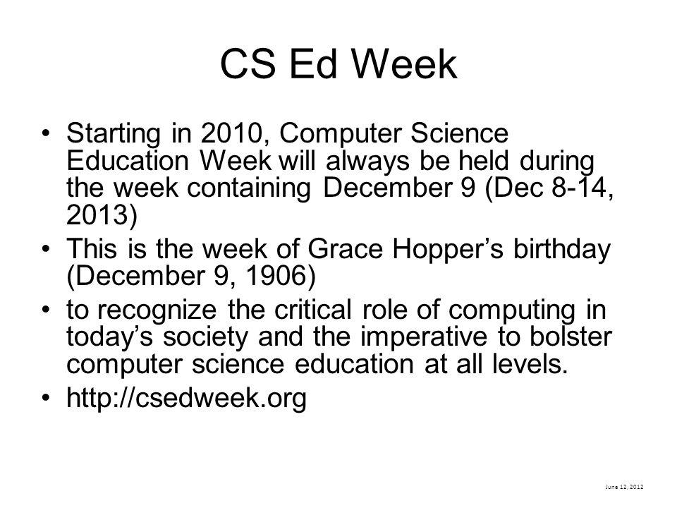 CS Ed Week Starting in 2010, Computer Science Education Week will always be held during the week containing December 9 (Dec 8-14, 2013)