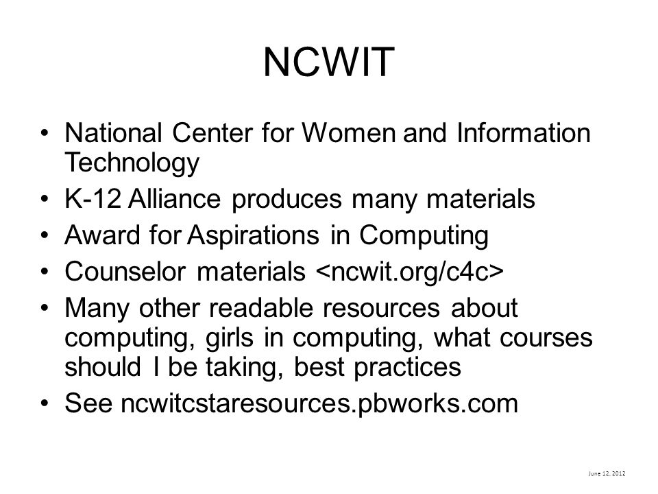 NCWIT National Center for Women and Information Technology