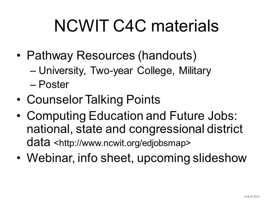 NCWIT C4C materials Pathway Resources (handouts)
