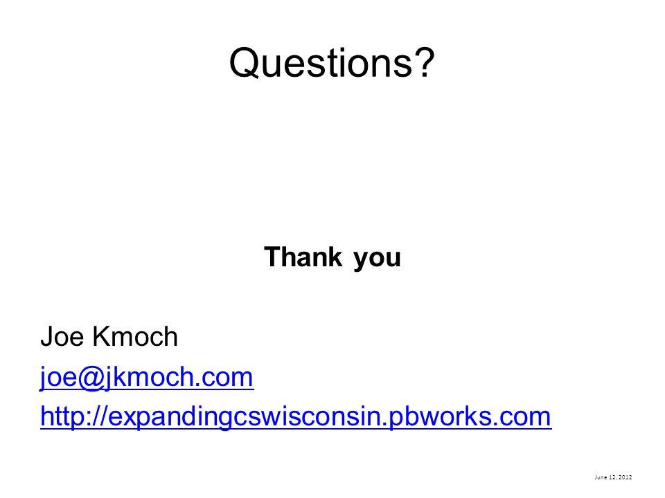 Questions Thank you Joe Kmoch joe@jkmoch.com http://expandingcswisconsin.pbworks.com