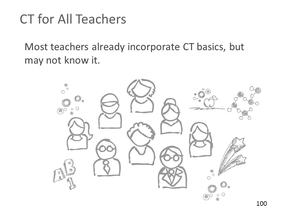 CT for All Teachers Most teachers already incorporate CT basics, but may not know it. CT for all teachers: