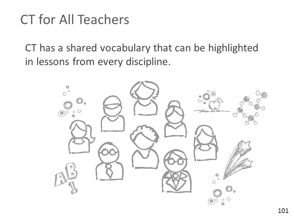 CT for All Teachers CT has a shared vocabulary that can be highlighted in lessons from every discipline.