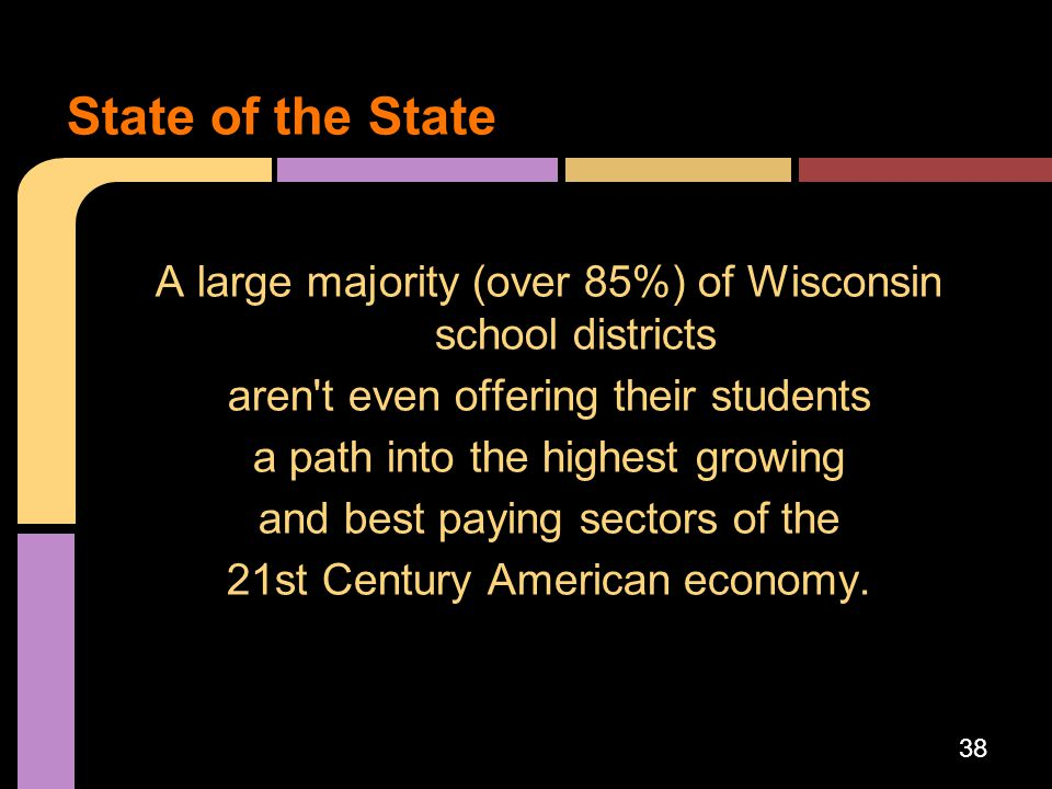 State of the State A large majority (over 85%) of Wisconsin school districts. aren t even offering their students.