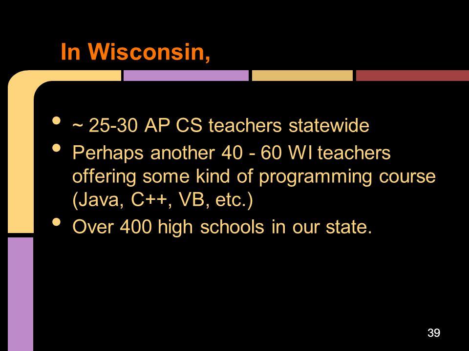 In Wisconsin, ~ 25-30 AP CS teachers statewide