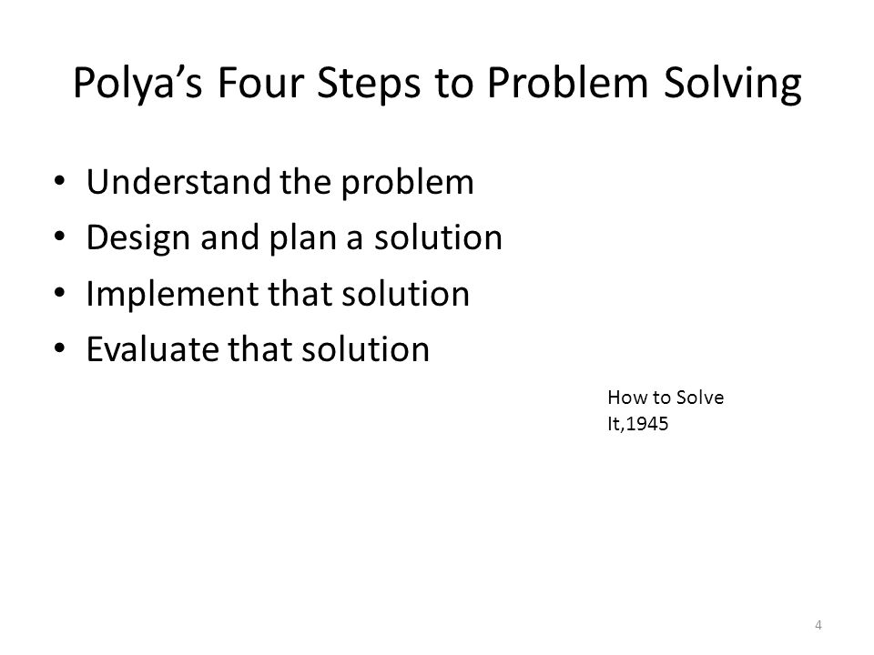 Polya's Four Steps to Problem Solving