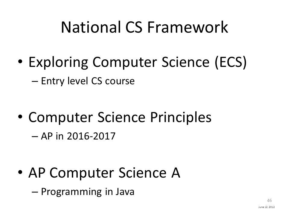 National CS Framework Exploring Computer Science (ECS)