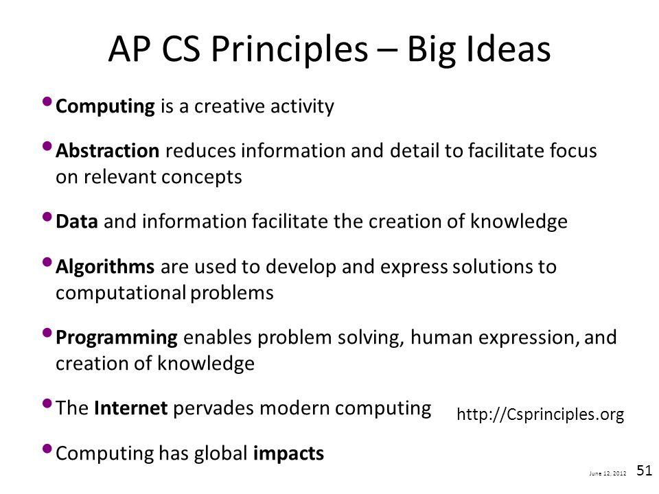 AP CS Principles – Big Ideas