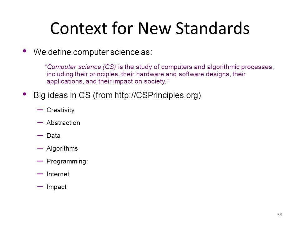 Context for New Standards