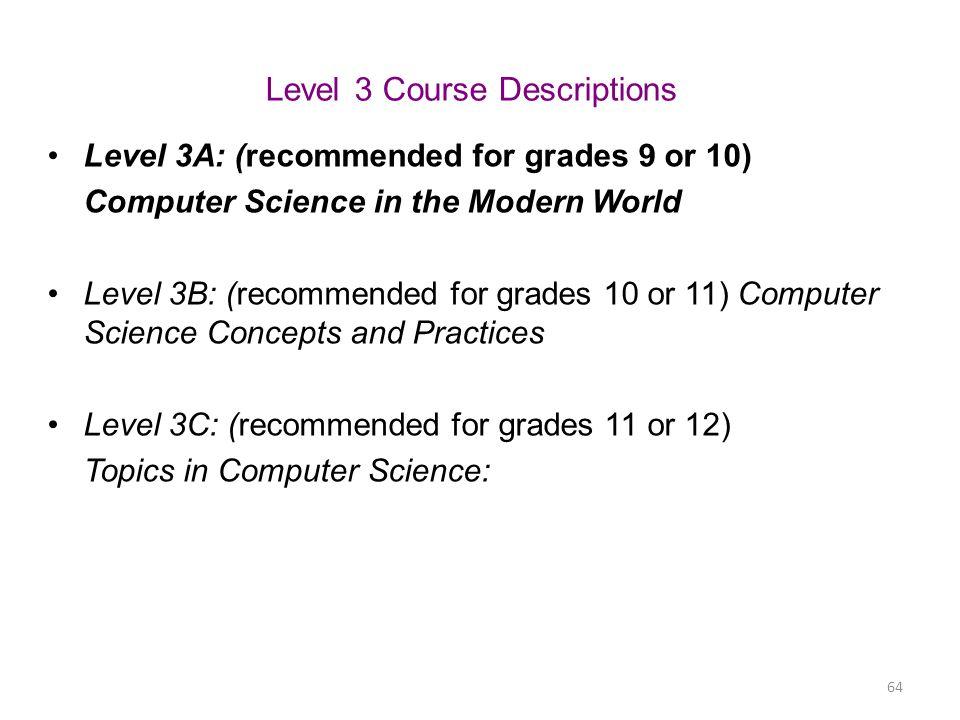 Level 3 Course Descriptions