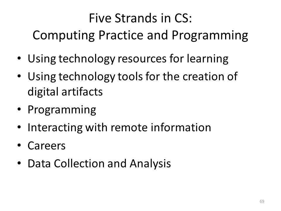 Five Strands in CS: Computing Practice and Programming