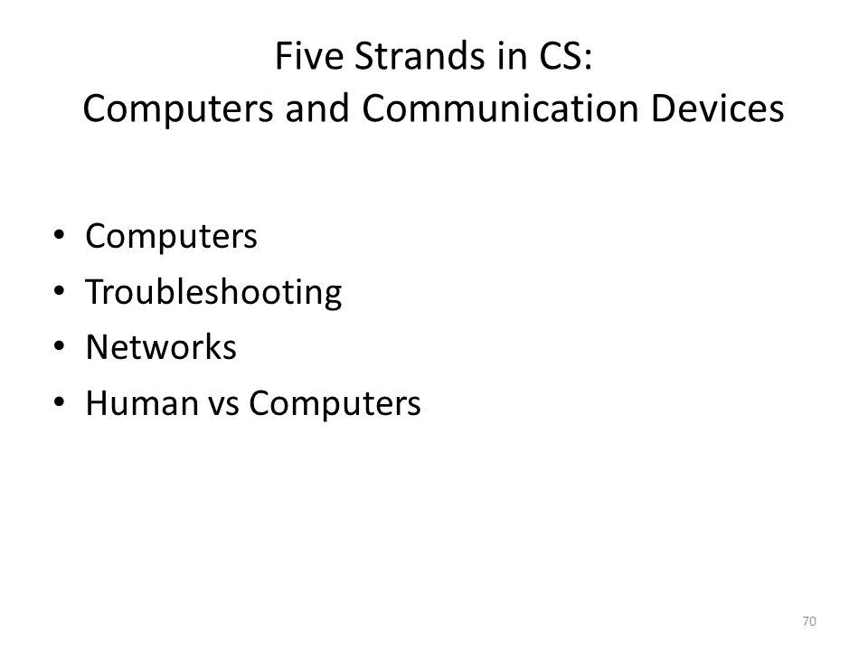 Five Strands in CS: Computers and Communication Devices